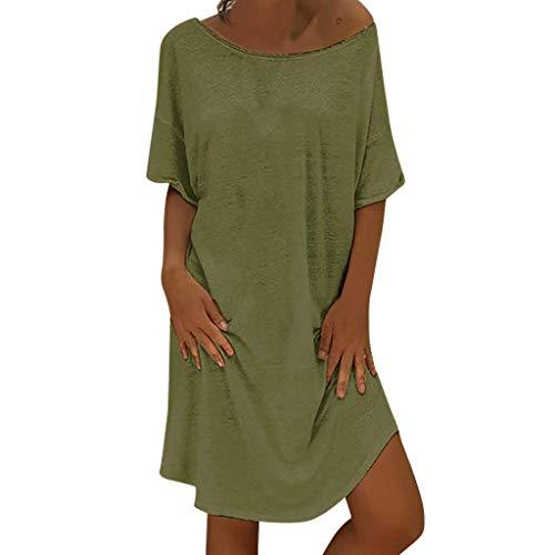 Vimoli Kleider Damen Elegant Sommerkleid Leinen Kleider Damen Rundkragen Strandkleider Einfarbig A-Linie Kleid Boho Knielang Kleid Ohne Zubehör(A Grün,De-44/CN-2XL)