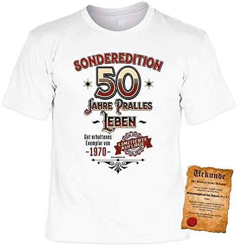 T-Shirt 50 Geburtstag - Geburtstagsshirt Sprüche Jahrgang 1970 50 Jahre 1970 Limitierte Auflage - Geschenk-Shirt zum 50.Geburtstag Frau/Mann + lustige Urkunde Gr: XL