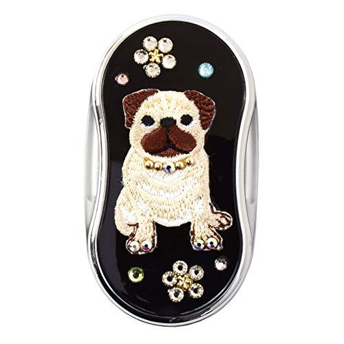 LEDスライドルーペ どうぶつシリーズ 拡大鏡 虫眼鏡 光る 緊急時 動物 アニマル お洒落 おしゃれ 可愛い かわいい プレゼント ギフト (白色)パグ・クロ