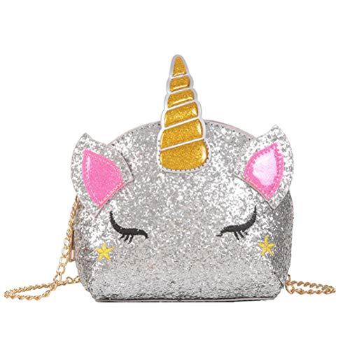 TENDYCOCO Borsa a Tracolla Borsa con Cerniera Glitter Paillettes Unicorno Borsa a Tracolla Piccola Borsa per Le Bambine (Argento)