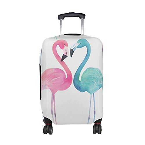 Cooper girl Watercolor Flamingo Travel Luggage Cover Suitcase Protector Fits 31-32 Inch