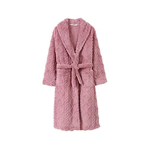 Albornoz largo para mujer Thickenbe cálido Coral Fleece Robe de lujo camisón con bolsillos (color: rosa, tamaño: mediano)