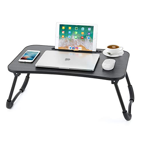 Nnewvante Lap Desk Bed Table Tray for Eating Writing Foldable Desk with iPad Slots for Adults/Students/Kids , Black