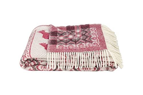 ÖJBRO VANTFABRIK Dalarna Wolldecke mit Fransen 130x220 cm rot / beige / schwarz 100prozent Merinowolle Strick-Plaid Tagesdecke Quilt warm weich - Hergestellt in Schweden