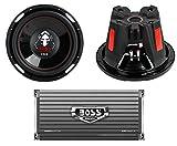 2 BOSS P126DVC 12' 2300W Car Subwoofers Subs + AR16002 2 Channel Amplifier Amp