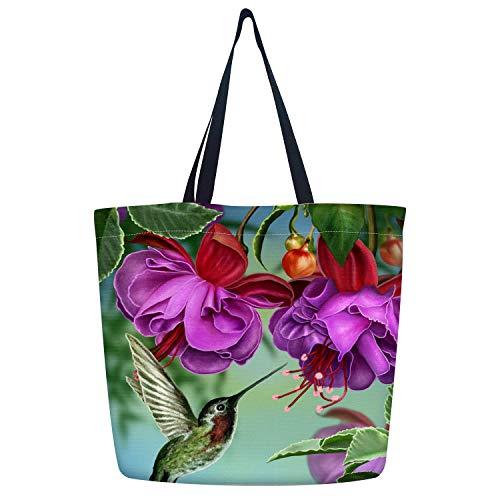 Britimes Humingbird Canvas Tote Bag Bulk for Women with Pockets Cute Graphic School Handbag Reusable Shopping Grocery Bag