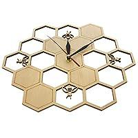 Gaoominy カット木製時計、ミツバチ櫛六角形、自然時計、壁時計、幾何学的なキッチンアート装飾
