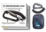 Motorcycle Helmet Lock & Cable. Sleek Black Tough Combination PIN Locking Carabiner Device...