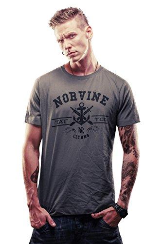 NORVINE T-Shirt Tat Anchor, Größe:S, Farbe:Grey