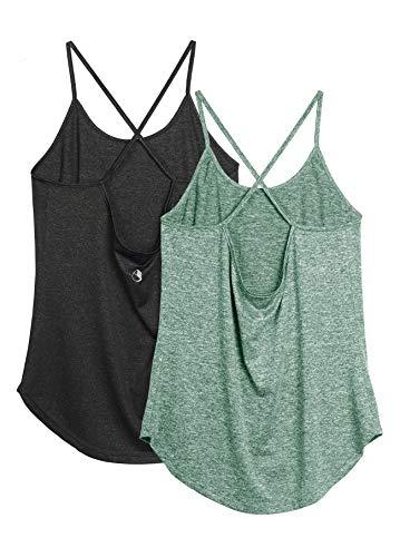 icyzone Damen Sport Shirt Yoga Rückenfrei Träger Top Gym Fitness Oberteile 2er Pack Tanktop (S, Schwarz/Grün)