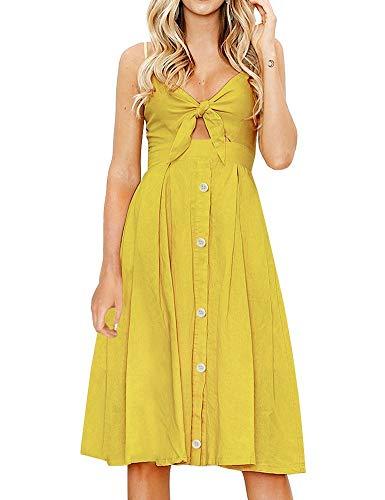 FANCYINN Dekoltee V Ausschnitt Kleid Damen Knielang Träger Rückenfreies Kleider Sommerkleider Strandkleider (Weizengelb, L)