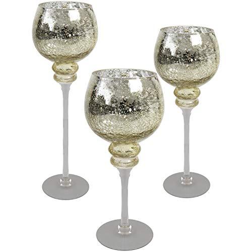 Multistore 2002 3tlg. Glaskelch Windlicht Set H40/35/30cm mit Goldener Kelch in Bruchglasoptik auf Fuß Kerzenhalter Kerzenleuchter Kerzenständer