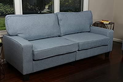 """Home Life 2 Person Love Seat Contemporary Pocket Coil Hardwood Sofa 280 61"""" Wide - Light Blue"""
