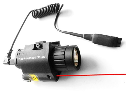Ade Advanced Optics Tactical Compact Rail Mounted Laser Sight with 200 Lumen LED Flashlightand Pressure Switch Pad, Red