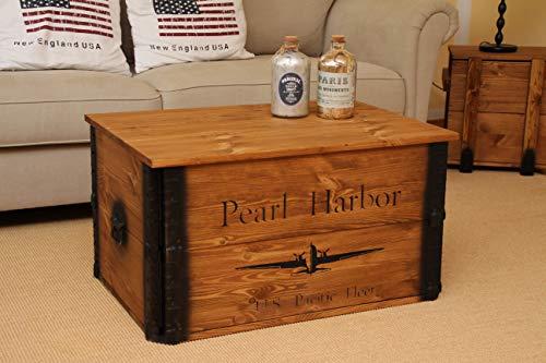 Uncle Joe´s Truhe Pearl Harbor Couchtisch Truhentisch im Vintage Shabby chic Style aus Massiv-Holz in braun mit Stauraum und Deckel Holzkiste Beistelltisch Landhaus Wohnzimmertisch Holztisch nussbaum - 4