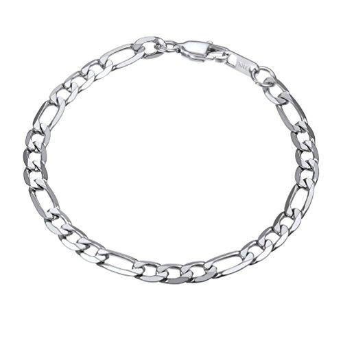 PROSTEEL Herren Armband 6mm glänzend Edelstahl Figarokette Armband 3+1 Silber Glieder Link Kettenarmband Armkette Armreif, Länge 19cm