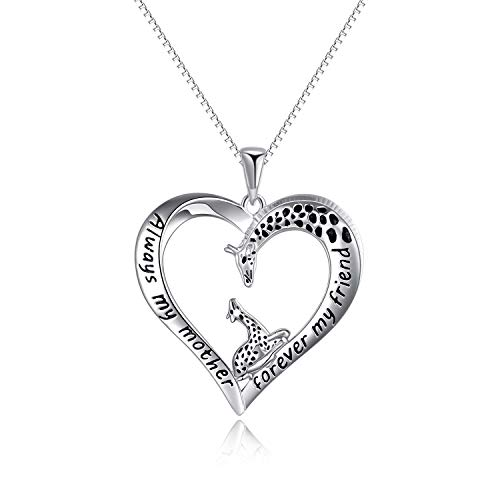 YFN Sterling Silver Giraffe Necklace Mum Jewellery Mother's Day Gifts for Mum Women Always My Mother Forever My Friend Lover Heart Pendant Necklace (giraffe necklace)