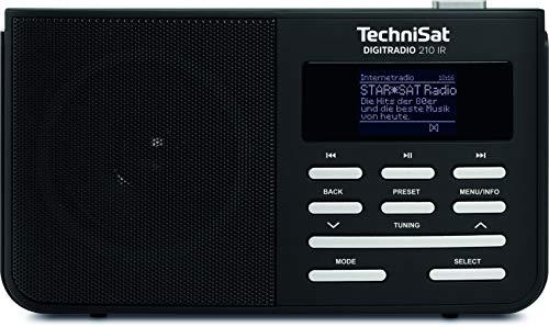 TechniSat Digitradio 210 portables Internetradio (DAB+, UKW, zweizeiliges LCD-Display, Teleskopantenne, Kopfhöreranschluss, Favoritenspeicher; Netz- oder Batteriebetrieb) schwarz