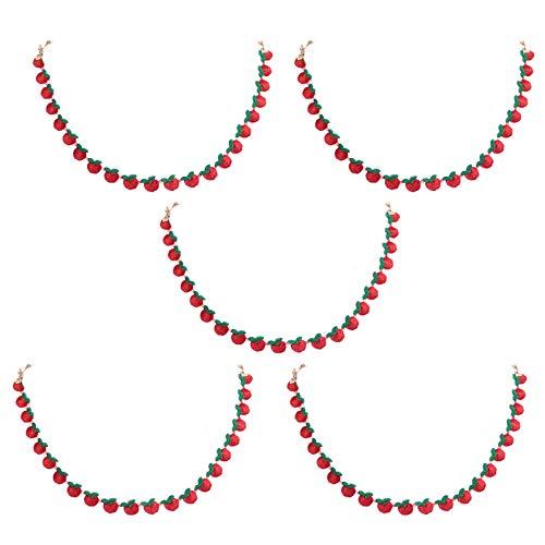 GROOMY Winddichtes Lanyard, 5Pcs Kids Gesichtsmaskenhalter Lanyard Stickerei Fruchtkette Brillenband Rope-Red