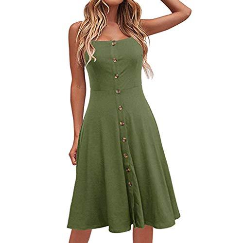 VEMOW Faldas Midi Vestido Largo Casual con botón Abotonado sin Mangas, Vestido...