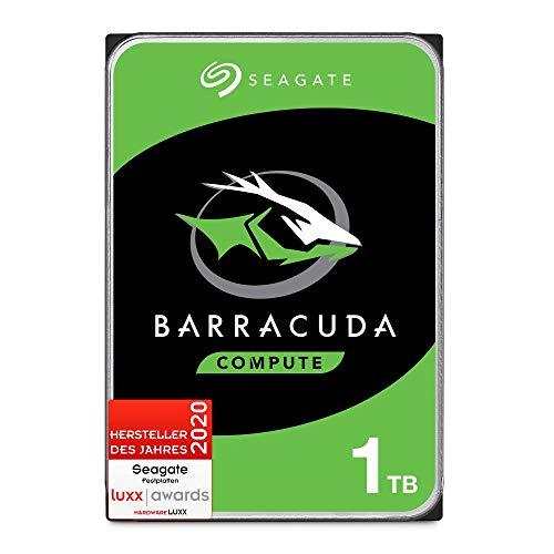 Seagate Barracuda, interne Festplatte 1 TB HDD, 3,5 Zoll, 7200 U/Min, 64 MB Cache, SATA 6 GB/s, silber, FFP, Modellnr.: ST1000DMZ10, (Verpackung kann variieren)