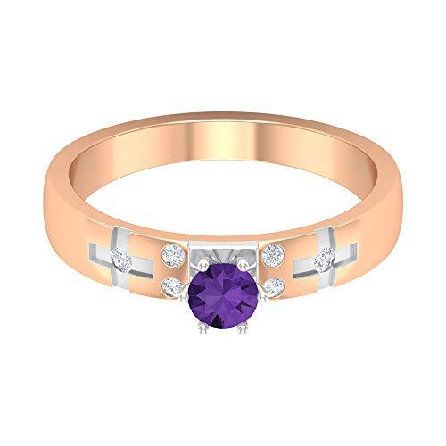Rosec Jewels 14 quilates oro rosa redonda Purple Creado en laboratorio de lavanda Diamond