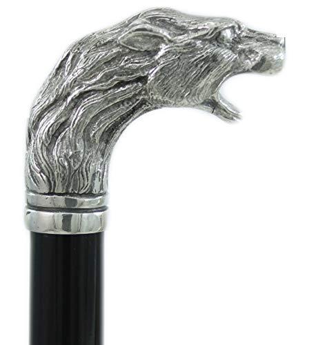 Cavagnini Gehstock, Griff in Form eines Löwenkopfes, Hartzinn, Farbe: silber, Holz, schwarz, nobel, klassisch, elegant, personalisierbar aus eigener Herstellung