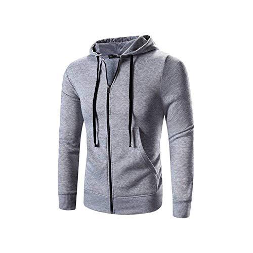 MUJOELE - Sudadera con cremallera para hombre de primavera y otoño gris claro XXL