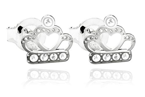 Ah! Jewellery Crystals From Swarovski Crown Stud Earrings, Highly Polished Sterling Silver, Stamped 925