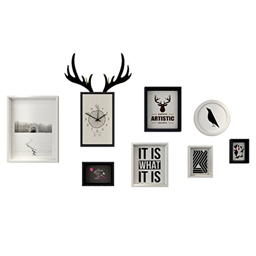 Mur en bois de photo de cadre, cadre simple moderne créatif de salle de séjour/restaurant de cadre de photo/combinaison de mur accrochant la décoration à la maison (Couleur : A)