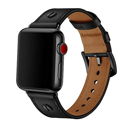 TPWAY Compatible with iWatch Band 44mm 42mm, Genuine Leather Replacement Band Strap Compatible with Apple Watch Series 6 5 4 3 2 1,SE,42mm 44mm,Black