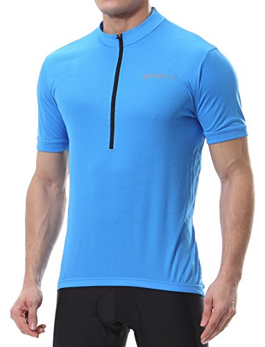 Spotti Men's Basic Short Sleeve Cycling Jersey - Bike Biking, Blue, Size X-Large