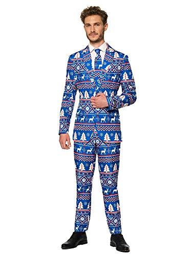 Suitmeister Kerst Suits voor Mannen in verschillende Prints – Lelijke Xmas Sweater Kostuums Inclusief Jas Broeken & Tie S Kerstmis Blauw Nordic