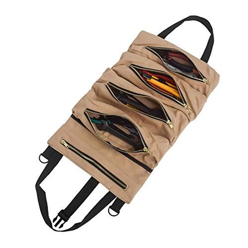 FinWell Hanging Tool Storage Bag Roll Up Bag 49 * 29cm for Car Garden Travel Roll Multi-Purpose Tool Wrench Roll Pouch Organizer