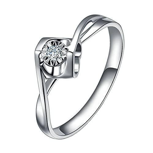 Amody Anillos de Matrimonio Oro Blanco, Anillos para Mujer Boda Flor Diseño 0.14ct Redonda Blanco Diamante Tamaño 20