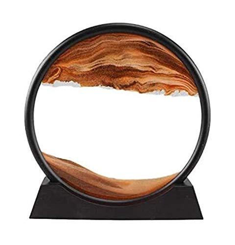 Jszzz Dynamische Sanduhr 3D Naturlandschaft Fließen Sand Bild Art Doppel Faced bewegen Sand Grit Foto Interior Desktop (Color : Coffee)