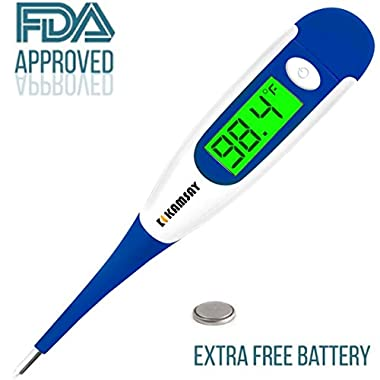 Best FDA Digital Medical Baby Thermometer , Easy Accurate and Fast 10 Second Read Fever Body Temperature , Flexible Tip ,Waterproof for Baby ,Kids, Adults, Pets ,Oral, Underarm,Rectal (Blue)