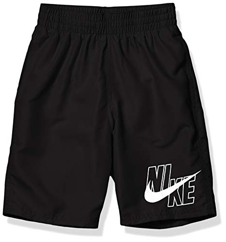 Nike Swim Boys  Big Logo Solid Lap Volley Short Swim Trunk, Black White, Small