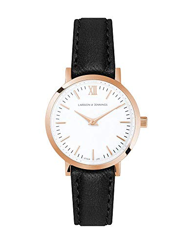 Larsson & Jennings LJXII Lugano Unisex Hombres & Mujer Relojes with 26mm Rose Gold/Satin White Dial and Black Leather Strap LX26-LBK-RGW.