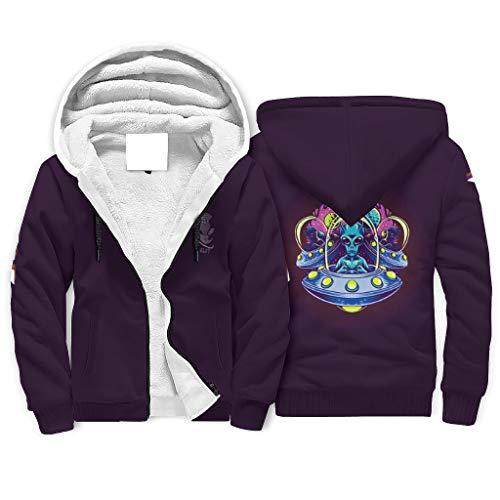Alien Novelty Casual Sport Full Zip Sweatshirts mit Fronttasche für Damen und Herren Gr. L, weiß