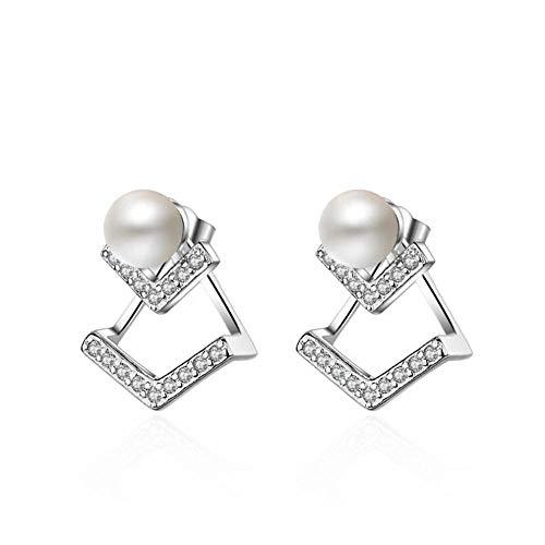Pendientes de perlas en forma de V de circonita para mujer Joyas de plata Orbellen Brincos