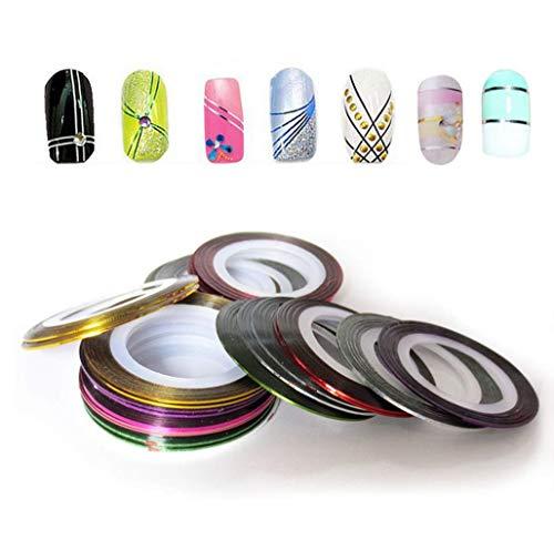 Drawihi - 20rotoli Multicolore Misti per decorazione delle unghie, adesivi dai da te per unghie.
