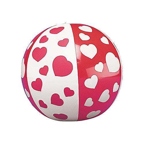 Mini Heart Beach Balls (1 Dozen) Valentine's Day Giveaways, Party Favors, Classroom Supplies