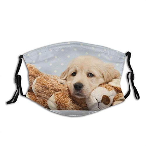 Golden Retriever with Stuffed Animal Safety Reusable Made in USA Fashion Mouth Face Protection Cover Balaclava Cotton with 2pcs Filters