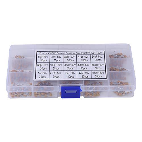 450pcs 15 Wert 10pF - 100nF Mehrschichtkeramik-Kondensator-Zusammenstellungs-Installationssatz mit Kasten