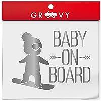 赤ちゃん 子供 乗ってます ステッカー baby in car スノーボード ベビー イン カー 横乗り かわいい おしゃれ 車 ブランド アウトドア シール おもしろ グッズ_1184 (シルバー)