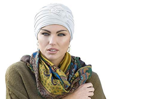 MASUMI Primrose - Damen Mütze für Chemotherapie, Krebspatienten und Frauen mit Haarausfall - Geschenkidee (Weiß)