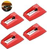 Aghi Punta Diamante,Ago per Giradischi 4 Pack Sostituzione Puntine Stilo Universali Aghi di Ricambio Giradischi Aghi per Stilo Diamantati di Ricambio per Giradischi Testine Fonografiche