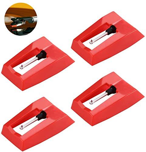 BaiJ Plattenspieler Nadel,Stylus Nadel 4er-Pack Ersatznadel für Plattenspieler Tonnadel Austausch Plattenspieler Universal Stylus Diamant Stylus Ersatz für Vinyl Plattenspieler