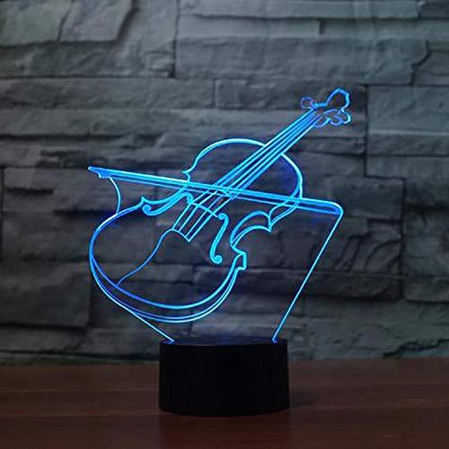 Luces Sinfónicas 3D, Luz De Noche Led, Violín, Instrumento Musical, Toque Remoto, 7 Colores Que Cambian, Decoración Del Dormitorio Del Bebé, Regalos Para Niños